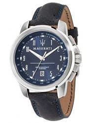 Maserati Men's Successo Blue Dial Black Leather Watch R8851121003