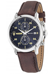 Maserati Men's Time Blue Dial Brown Strap Watch R8871618001