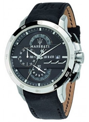 Maserati Men's Ingegno Chronograph Black Leather Strap Watch R8871619004