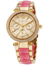 Michael Kors Women's Mini Parker Chronograph Gold Tone Dial Gold Tone Stainless Steel Watch MK6573
