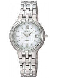 Seiko Women's Solar White Dial Stainless Steel Watch SUT015