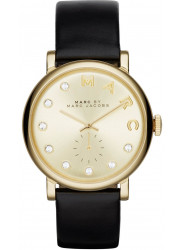 Marc by Marc Jacobs Women's Baker Gold Dial Black Leather Watch MBM1399
