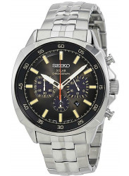 Seiko Men's Recraft Solar Chronograph Black Dial Watch SSC511