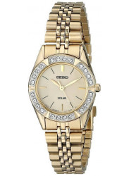 Seiko Women's Solar Champagne Dial Gold Tone Watch SUP096