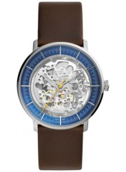 Fossil Men's Chase Timer Automatic Blue Dial Brown Leather Watch ME3162