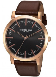 Kenneth Cole New York Men's Black Dial Dark Brown Leather Watch 10030809