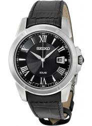 Seiko Men's Le Grand Solar Black Dial Black Leather Watch SNE397