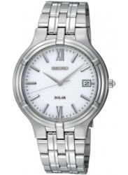 Seiko Men's Solar White Dial Stainless Steel Watch SNE025