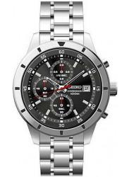 Seiko Men's Chronograph Black Dial Stainless Steel Watch SKS561