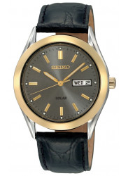 Seiko Solar Men's Grey Dial Black Synthetic Leather Strap Watch SNE050