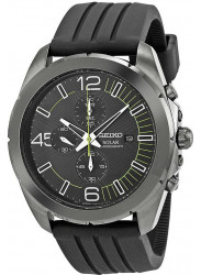 Seiko Men's Solar Chronograph Black Dial Rubber Watch SSC205
