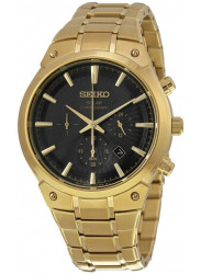 Seiko Men's Solar Chronograph Black Dial Gold-Tone Watch SSC320