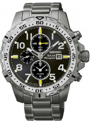 Seiko Men's Solar Chronograph Black Dial Watch SSC307