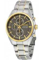 Seiko Men's Solar Chronograph Grey Dial Two Tone Titanium Watch SSC392