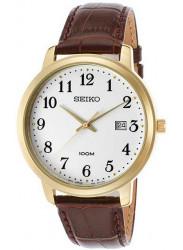 Seiko Men's White Dial Brown Leather Watch SUR114
