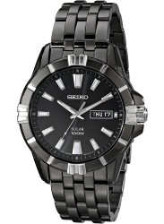Seiko Men's Black Dial Black IP Stainless Steel Watch SNE177