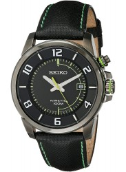 Seiko Men's Kinetic Black Dial Black Cloth And Leather Watch SKA557
