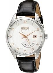 Seiko Men's Kinetic Cream Dial Black Leather Watch SRN049