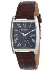 Seiko Men's Solar Black Dial Brown Leather Watch SUT889