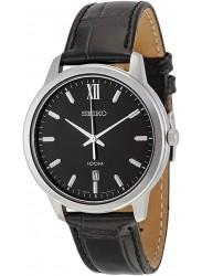 Seiko Men's Black Dial Black Leather Watch SUR045