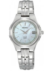 Seiko Women's Solar Mother of Pearl Dial Stainless Steel Watch SUT047