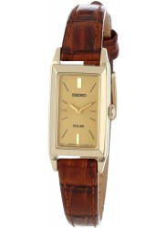 Seiko Women's Solar Champagne Dial Brown Leather Watch SUP046