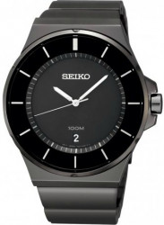 Seiko Men's Black Dial Black Ion-Plated Stainless Steel Watch SGEG21