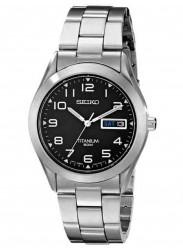 Seiko Men's Tiatnium Black Dial Watch SGG711