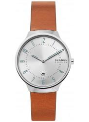 Skagen Men's Grenen Silver Dial Tan Leather Watch SKW6522