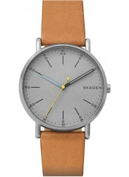 Skagen Men's Signatur Grey Dial Brown Leather Watch SKW6373
