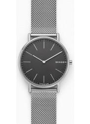 Skagen Men's Signatur Slim Titanium Black Dial Silver Stainless Steel Watch SKW6483