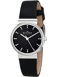 Skagen Women's Ancher Black Leather Diamond Watch SKW2193