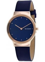 Skagen Women's Freja Blue Dial Blue Leather Watch SKW2706