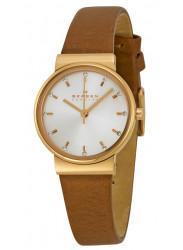 Skagen SKW2260 Ancher Silver Dial Brown Leather Ladies Watch