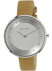 Skagen Women's Gitte Silver Dial Brown Leather Watch SKW2326