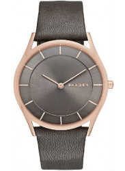 Skagen Womens Classic Leather Dark Dial Watch