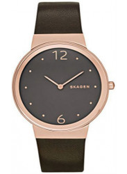 Women's Classic Skagen Leather Rose Dark Dial Watch