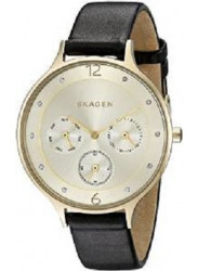 Skagen Women's Anita Black Leather Gold Tone Dial Watch SKW2393