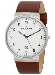 Skagen Men's Ancher Brown Leather White Dial Watch SKW6082