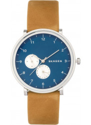 Skagen Hald Men's Blue Dial Tan Leather Strap Watch SKW6167