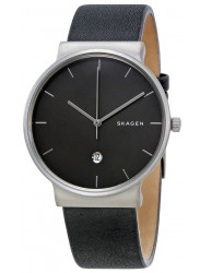 Skagen Men's Ancher Black Leather Watch SKW6320