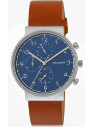 Skagen Men's Ancher Blue Dial Brown Leather Watch SKW6358