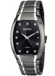 Seiko Men's Solar Black Dial Two Tone Watch SNE335