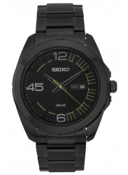 Seiko Men's Solar Black Dial Black Stainless Steel Watch SNE275