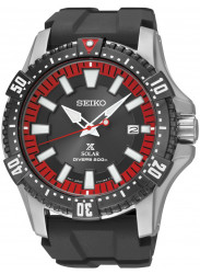 Seiko Men's Prospex Solar Diver Black Dial Black Rubber Watch SNE383