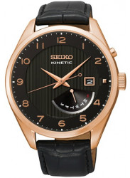 Seiko Men's Kinetic Black Dial Black Leather Watch SRN054
