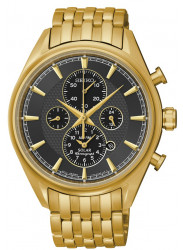Seiko Men's Chronograph Black Dial Gold-tone Watch SSC210