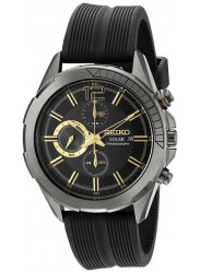 Seiko Men's Recraft Solar Chronograph Black Dial Watch SSC385