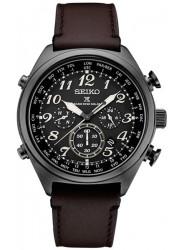 Seiko Prospex Men's Chronograph Black Dial Brown Leather Watch SSG015
