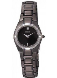 Seiko SUJF11 Women's Dress Diamond Accented Bezel Black Dial Quartz Black Ion Plated Watch